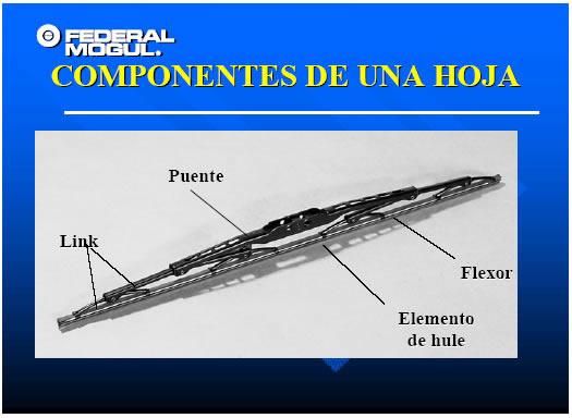 Componentes del limpiaparabrisas